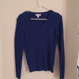 Sweaters - Blue cable knit v-neck sweater. St. John's Bay.